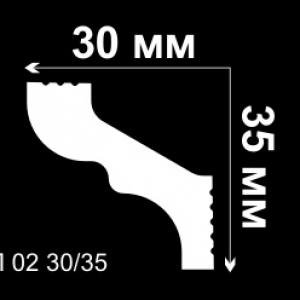 Потолочный плинтус 3 см, Де-Багет П02 30/35
